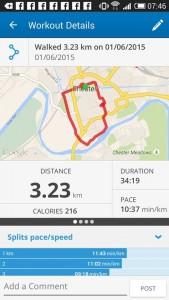 chester wall walker - map my walk - 1st june